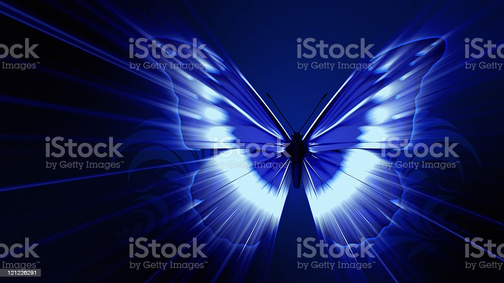 Butterfly Effect. Blue version royalty-free stock photo