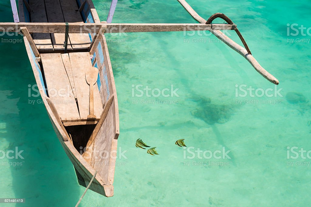 Butterfly fish near traditional boat stock photo