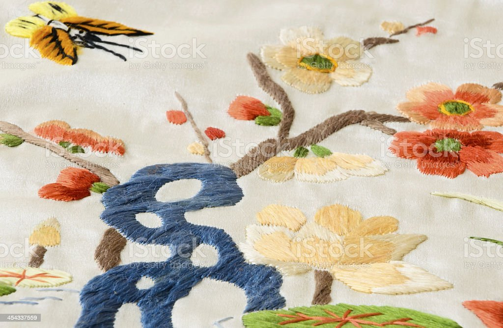 Butterfly Garden Embroidery royalty-free stock photo