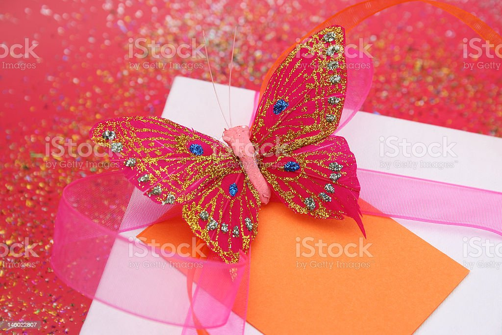 Butterfly Gift Close royalty-free stock photo