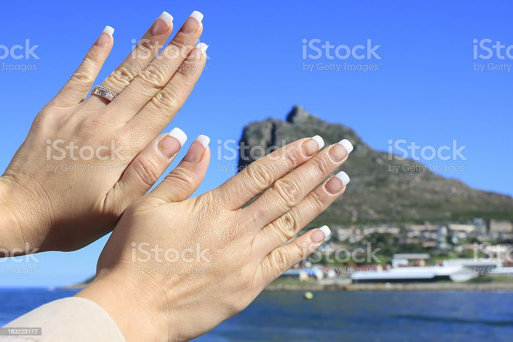 Butterfly hand stock photo