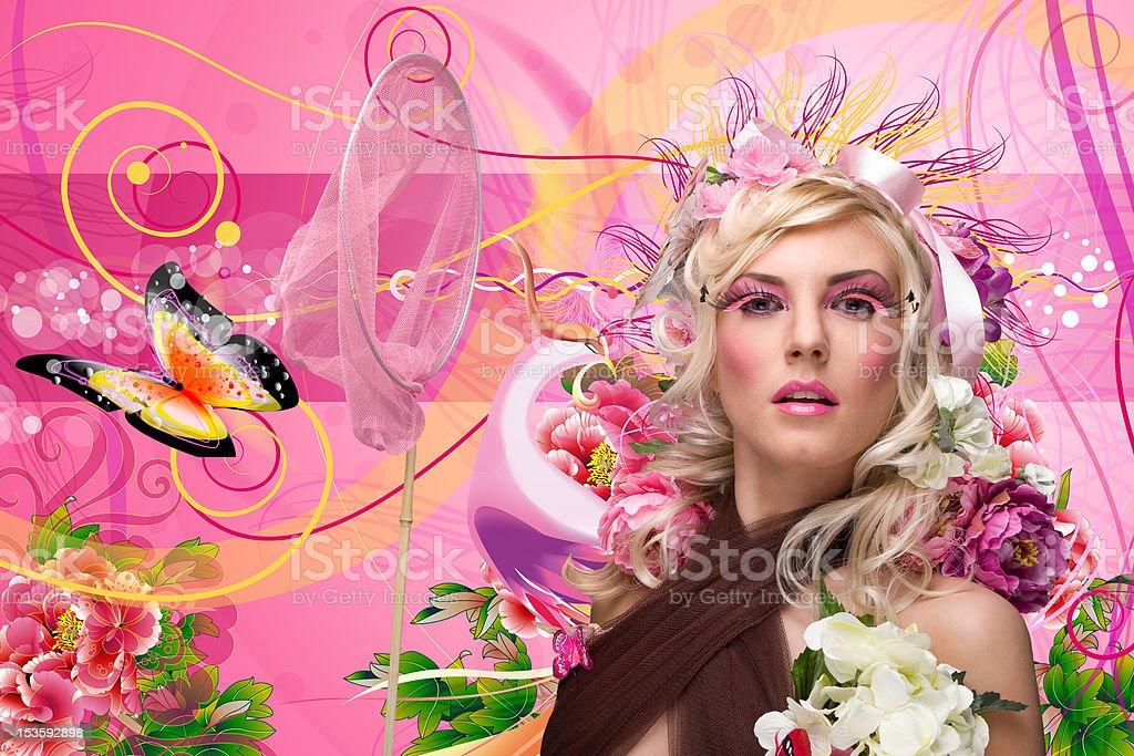 Butterfly Lady stock photo