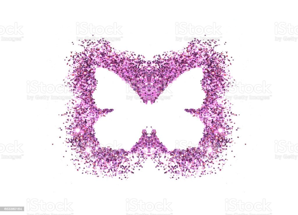 Butterfly of purple glitter on white background stock photo