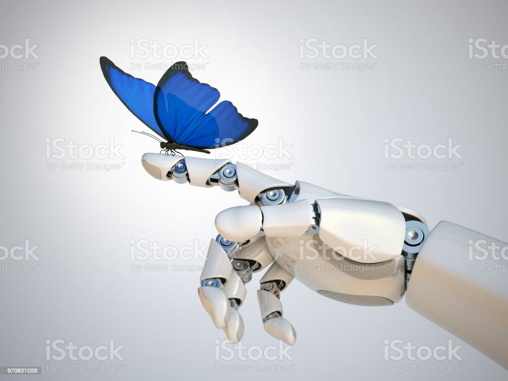 Butterfly on robot hand, technology and nature stock photo