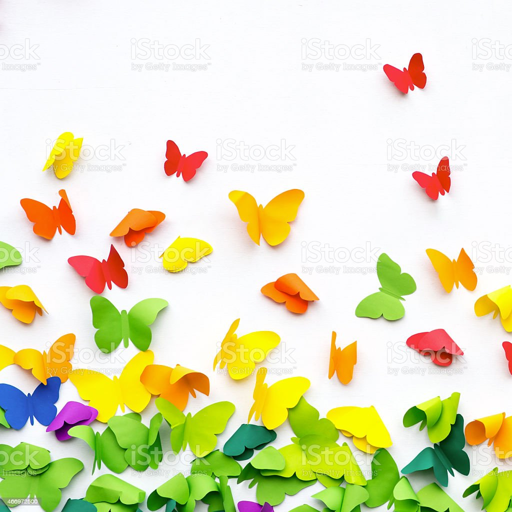 Butterfly Paper Cut on White Background stock photo