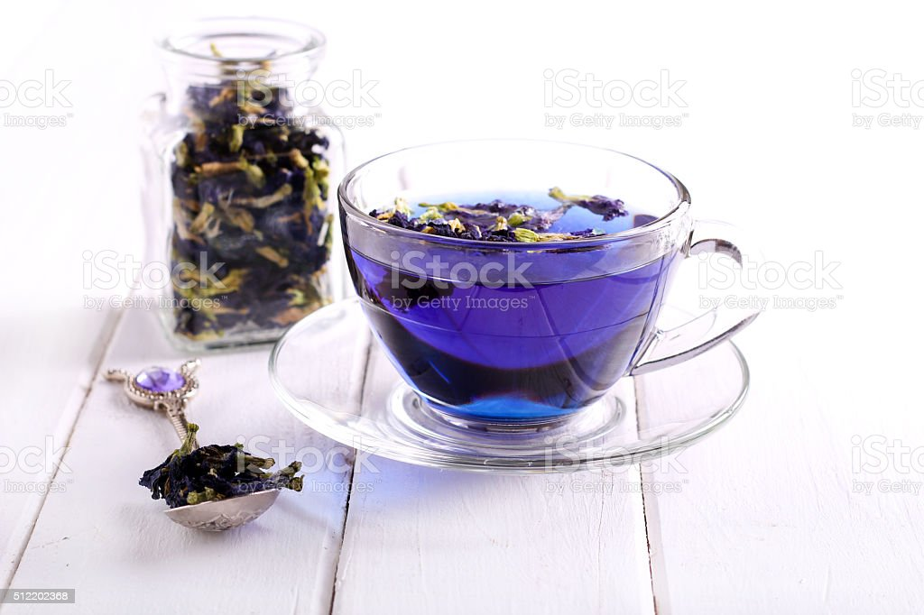 Butterfly pea blue tea stock photo