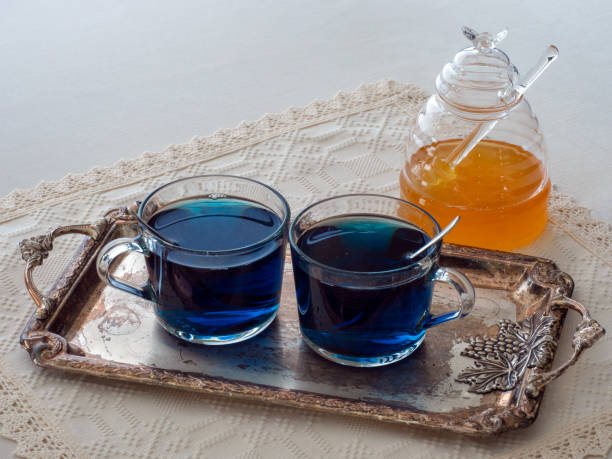 Butterfly pea flower tea (Clitoria Ternatea) has a deep blue color due to the high level of anthocyanin antioxidants stock photo