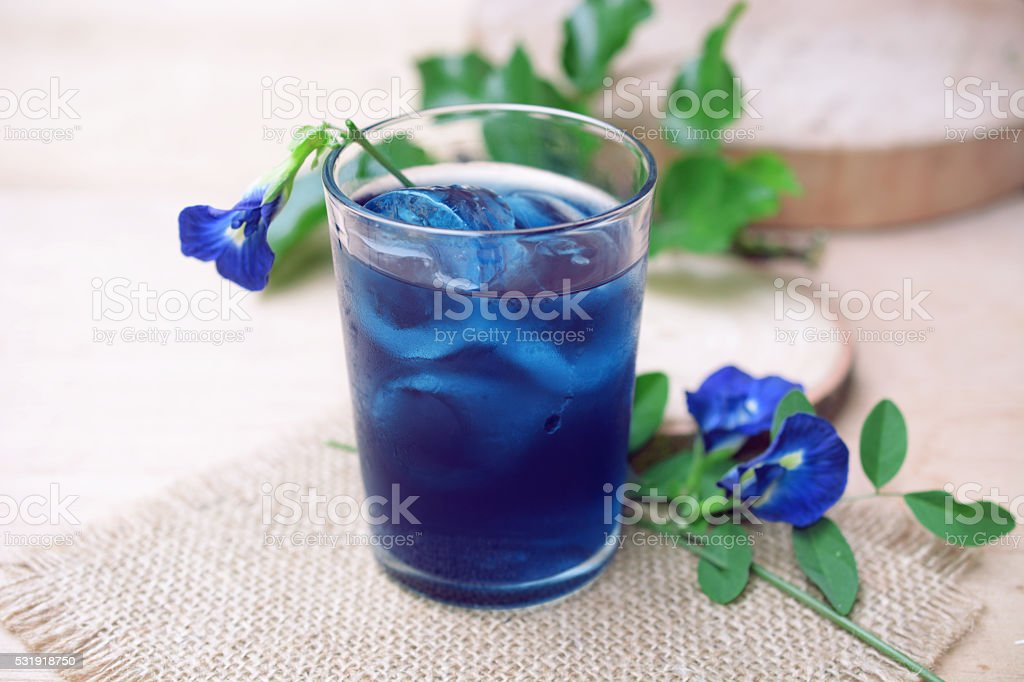 Butterfly pea juice with ice stock photo