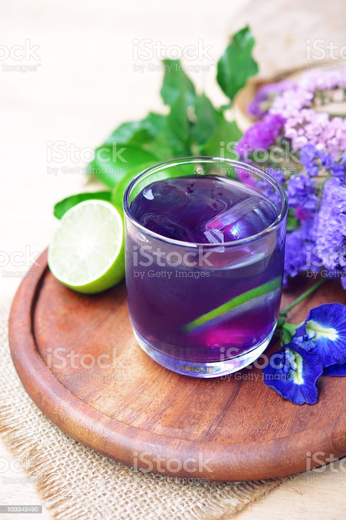 Butterfly pea with lime juice, cold drink stock photo