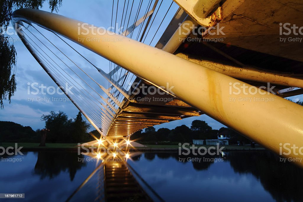 Butterfly River Bridge at Dusk stock photo