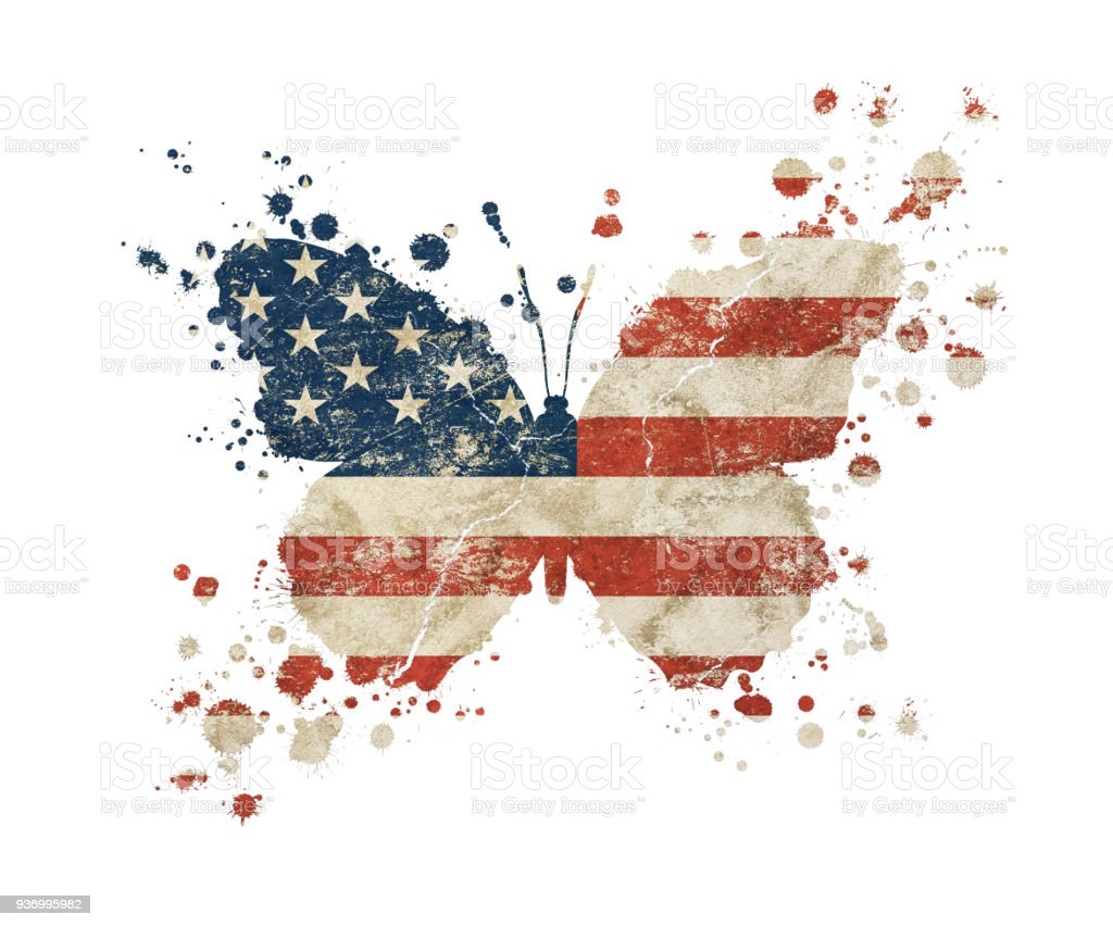 Butterfly shaped grunge vintage American US flag stock photo