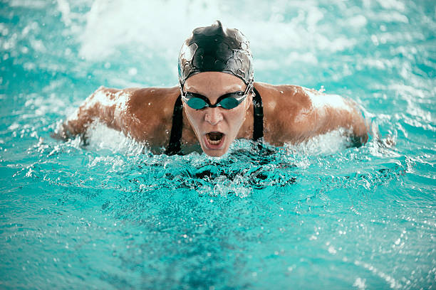 Butterfly Stroke Swimming Champion stock photo