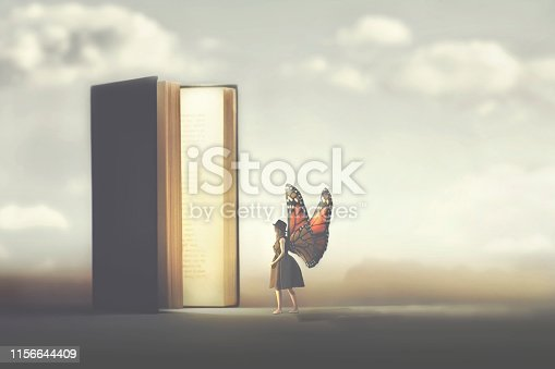 158326970 istock photo butterfly woman enters the pages of a fantasy book 1156644409