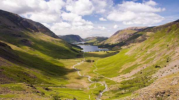 buttermere valley from giant haystacks - cumbria stock photos and pictures