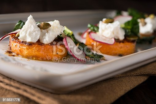 Roasted Butternut Squash Appetizer with Kale and Goat Cheese