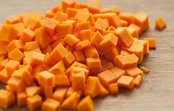 Butternut Squash Cubes stock photo