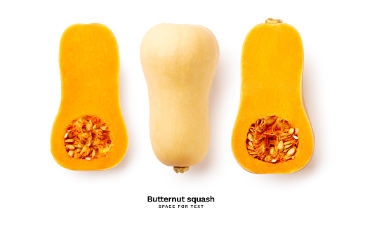 Ripe sliced butternut squash isolated on white background with copy space