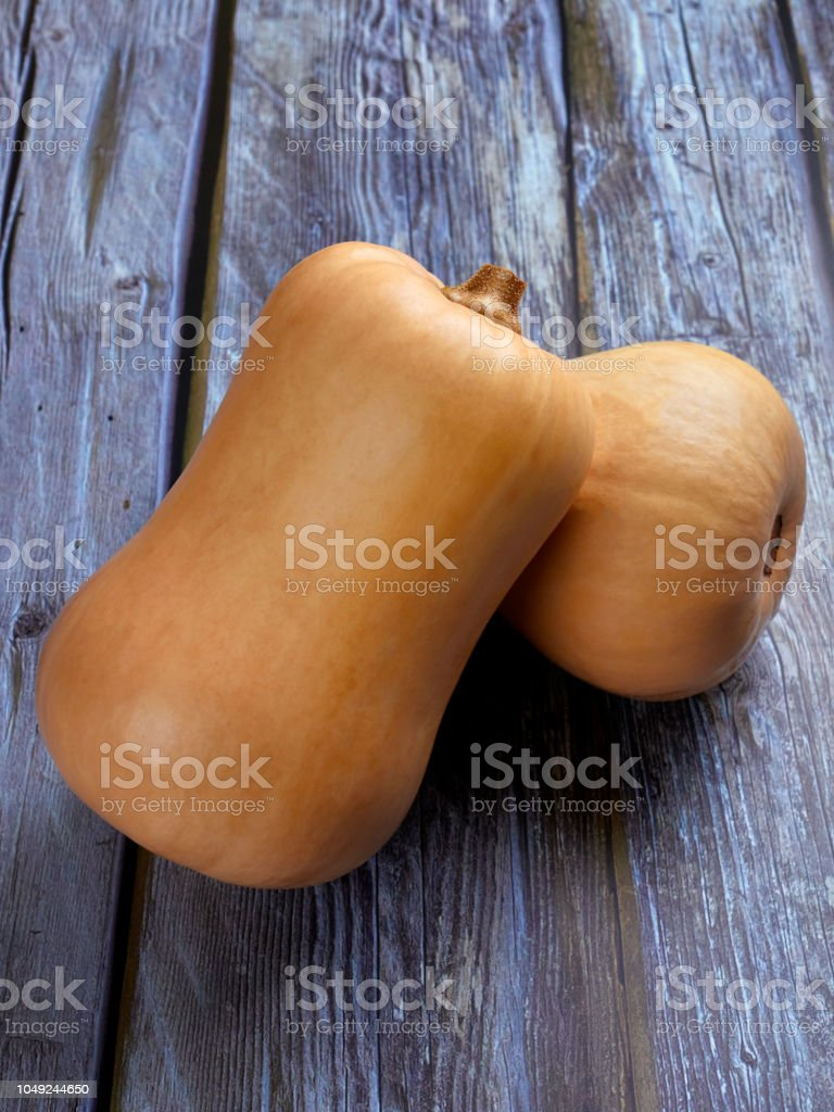 Butternut squash on gray rustic background stock photo