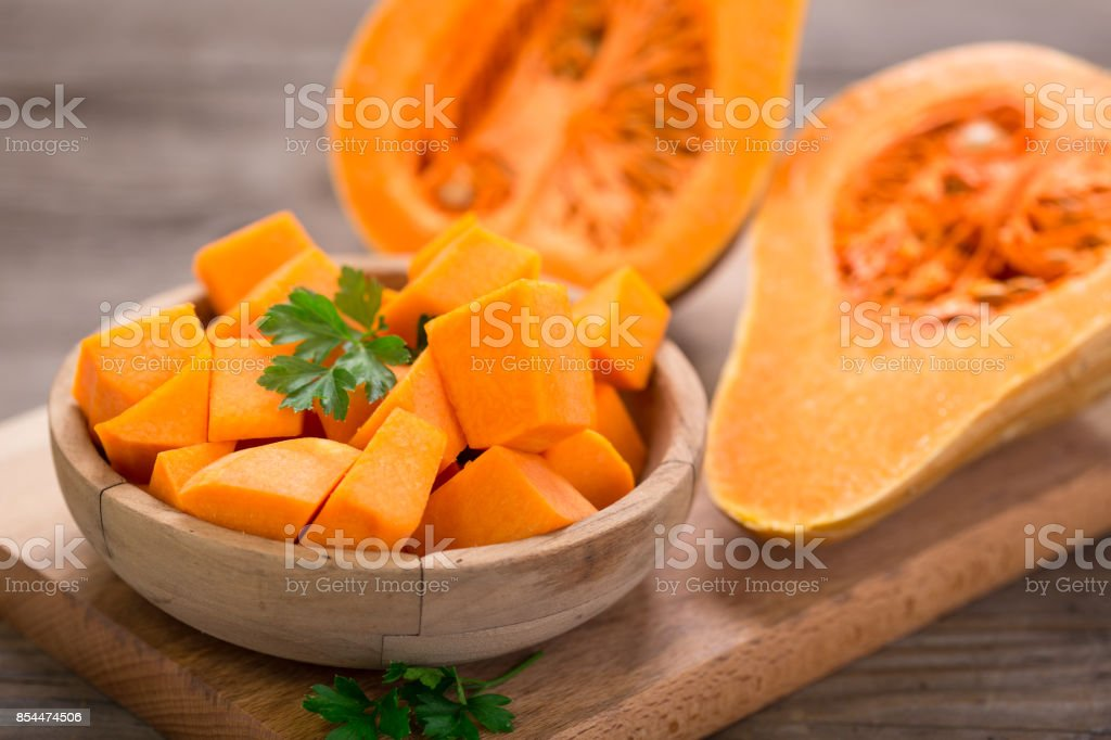 Butternut squash on the wooden table stock photo