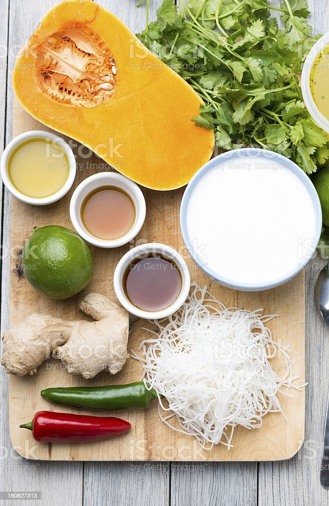 butternut squash soup ingredients stock photo