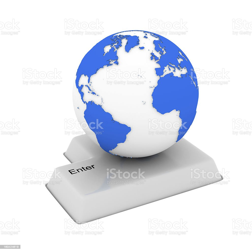 button and globe on white background. Isolated 3D image royalty-free stock photo