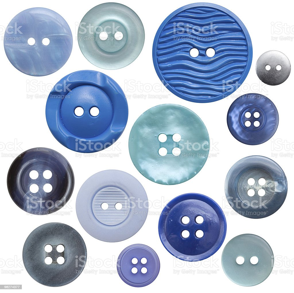 Button Collection, High-res - 14 Blue, Isolated royalty-free stock photo