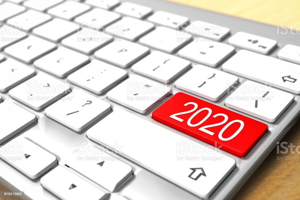 2020 Button - Computer Keyboard stock photo