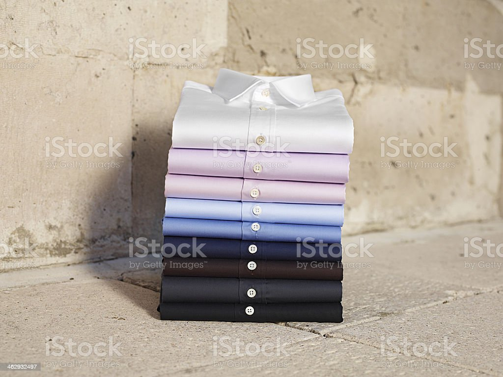 Button Down Shirts Folded 2 stock photo