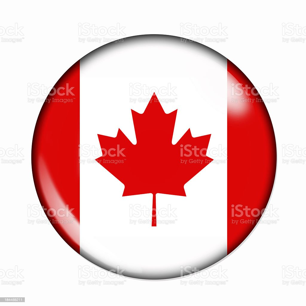 Button flag of Canada stock photo