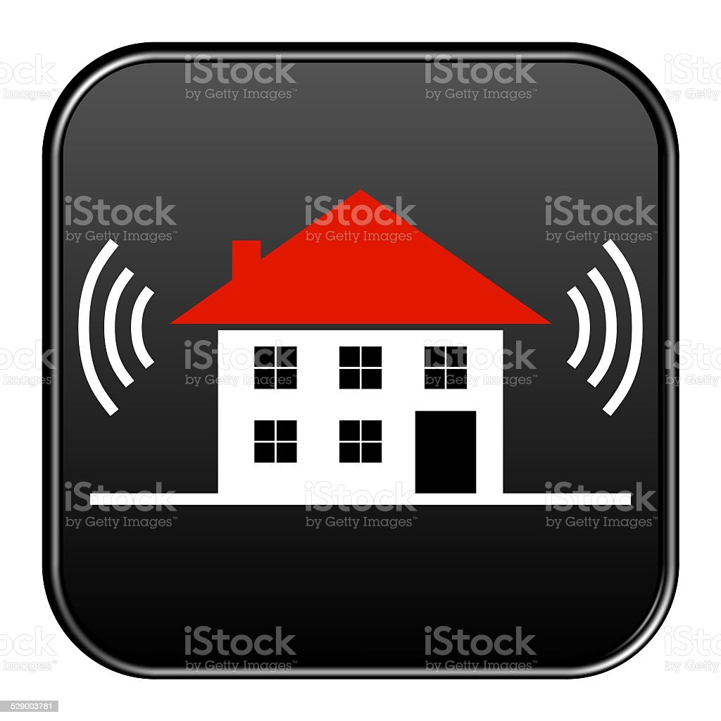 Button: House with Alarm stock photo