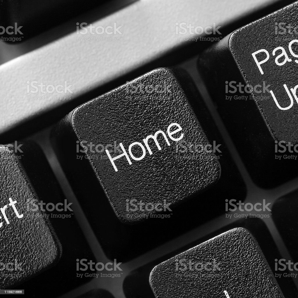 HOME button key on black computer keyboard royalty-free stock photo