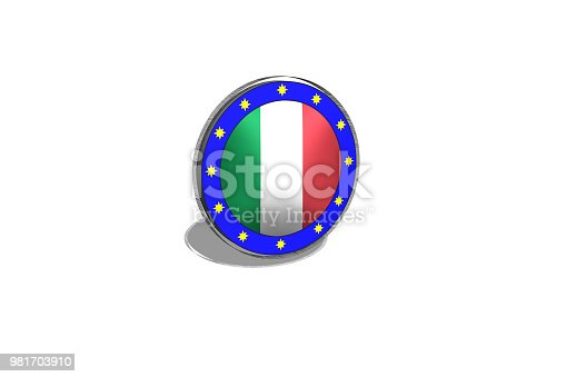 istock EU button on a button with Italian flag. 981703910