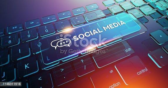 istock SOCIAL MEDIA Button on Computer Keyboard 1146311516