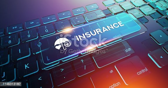 istock INSURANCE Button on Computer Keyboard 1146313182