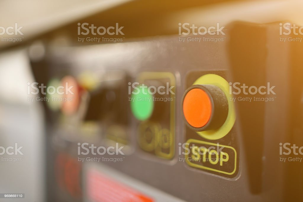 STOP Button on Device stock photo