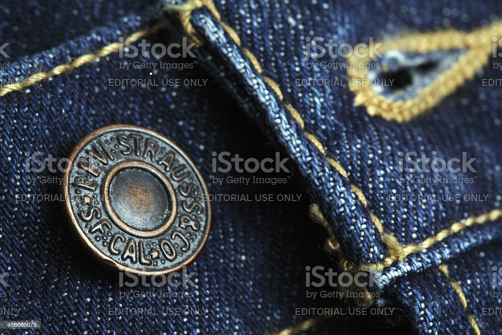 Button on Levi Strauss Jeans stock photo