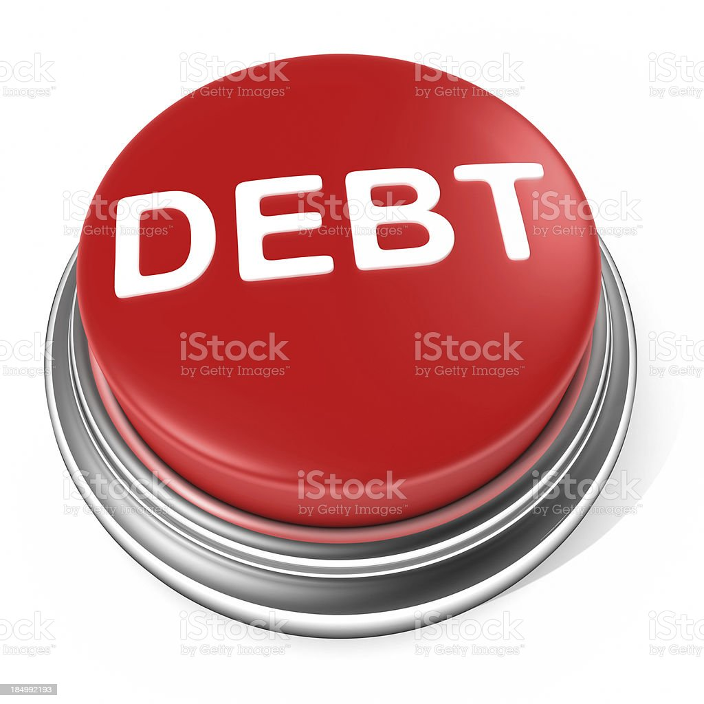 DEBT Button stock photo