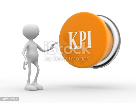 3d people - man, person with KPI ( Key Performance Indicator ) button