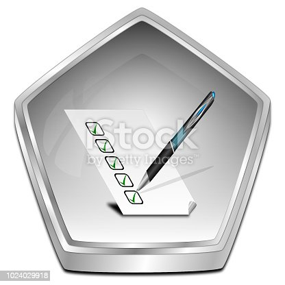 istock Button with check list - 3D illustration 1024029918