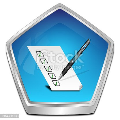 istock Button with check list - 3D illustration 834608136
