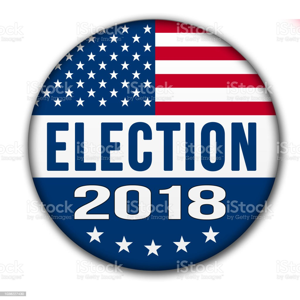USA ELECTION 2018 Button with Clipping Path stock photo