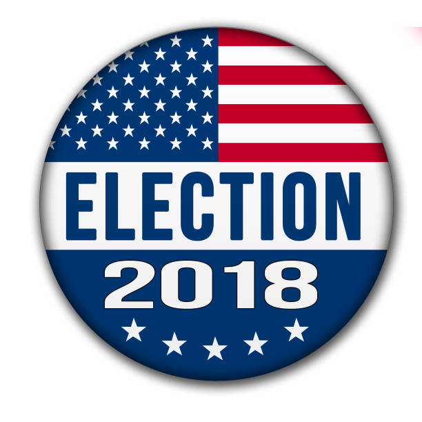 USA ELECTION 2018 Button with Clipping Path Election button for the 2018 with the USA flag and drop shadow. Image is with a clipping path of the button. 2018 stock pictures, royalty-free photos & images