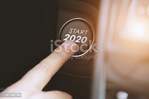 Button with start of the new year 2020