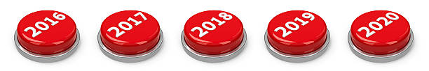 Buttons - 2016 2017 2018 2019 2020 Red 2016, 2017, 2018, 2019, 2020 buttons isolated on white background, three-dimensional rendering 2017 stock pictures, royalty-free photos & images