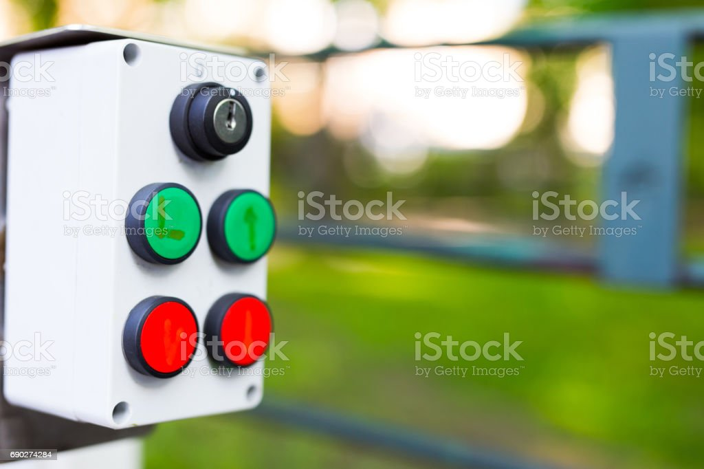 Buttons at the lift for disabled stock photo