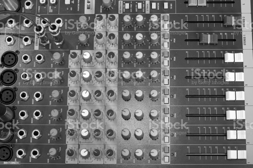 buttons equipment in audio recording studio of the green colour . royalty-free stock photo