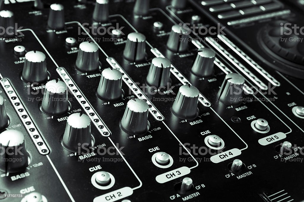 Buttons equipment in audio recording studio royalty-free stock photo