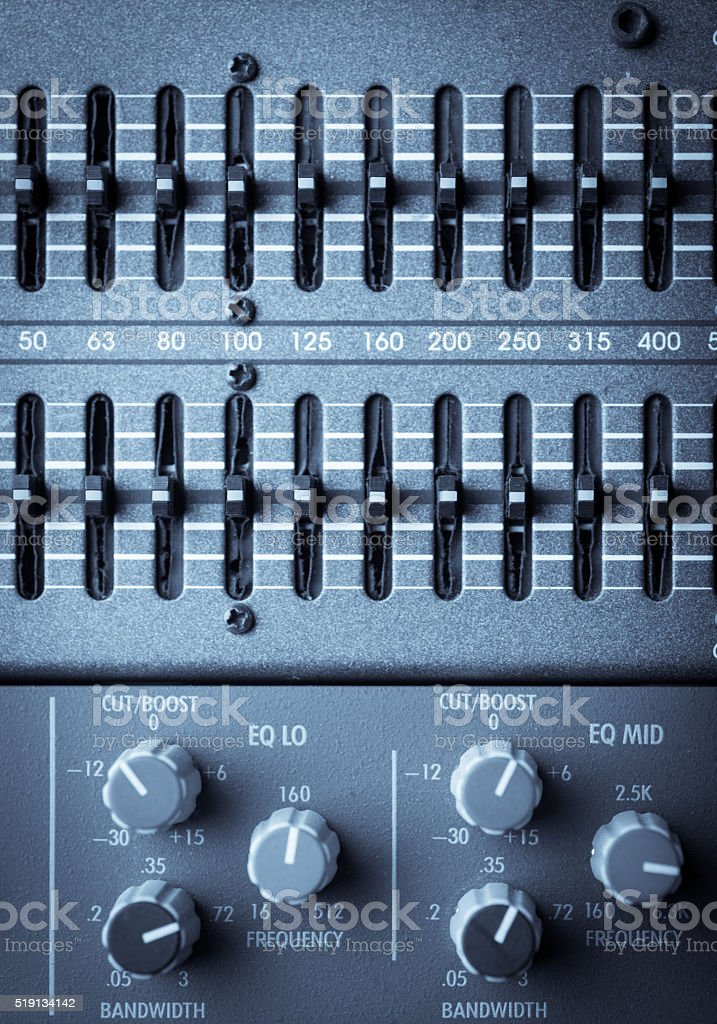 Buttons In Sound Studio Stock Photo - Download Image Now