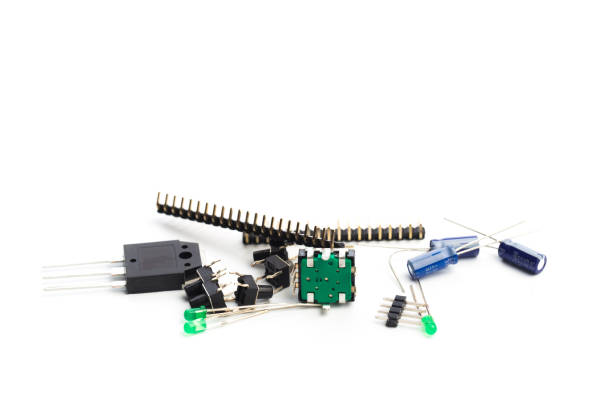 buttons, led, encoder and connectors isolated on white - Image stock photo