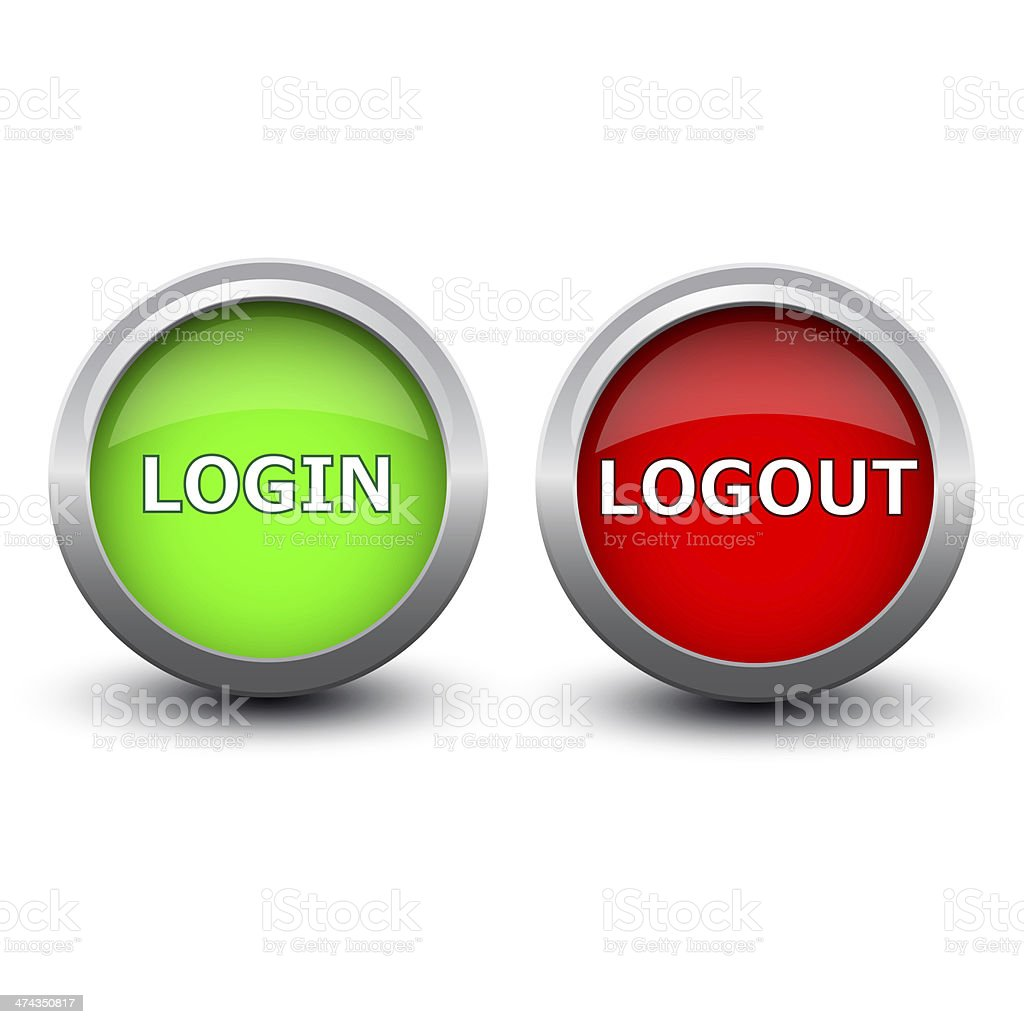 buttons login and logout stock photo